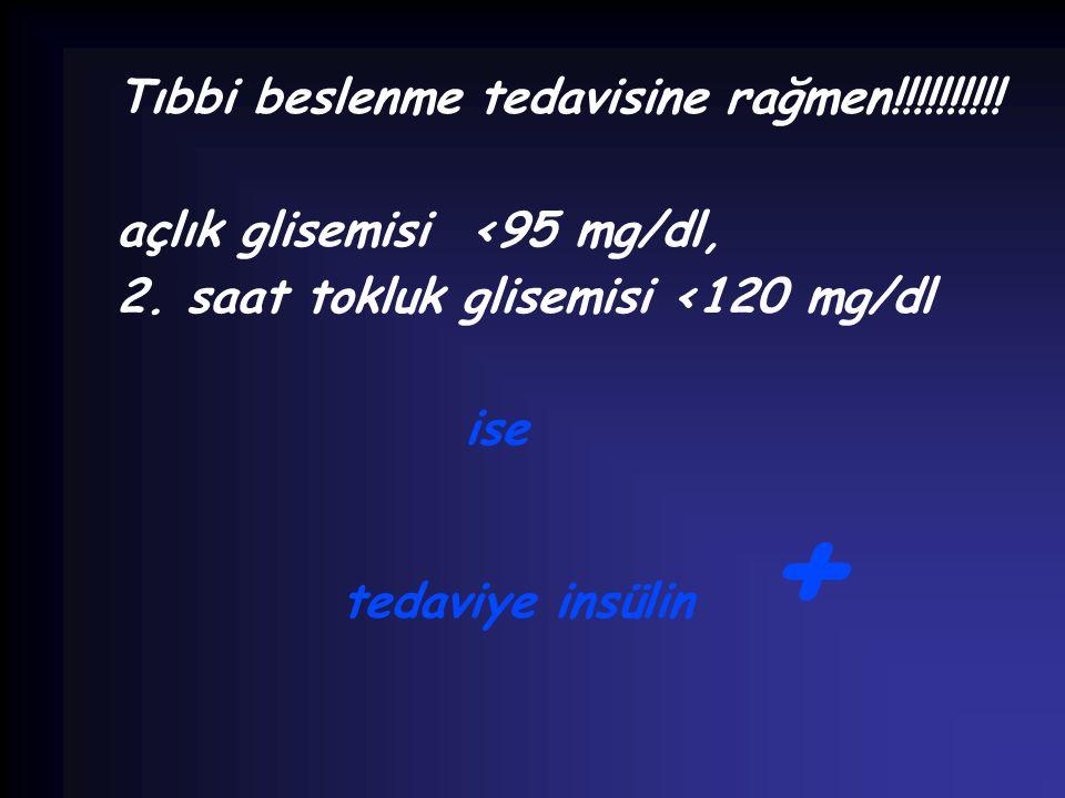 Tıbbi beslenme tedavisine rağmen!!!!!!!!!! açlık glisemisi <95 mg/dl, 2. saat tokluk glisemisi <120 mg/dl ise tedaviye insülin +