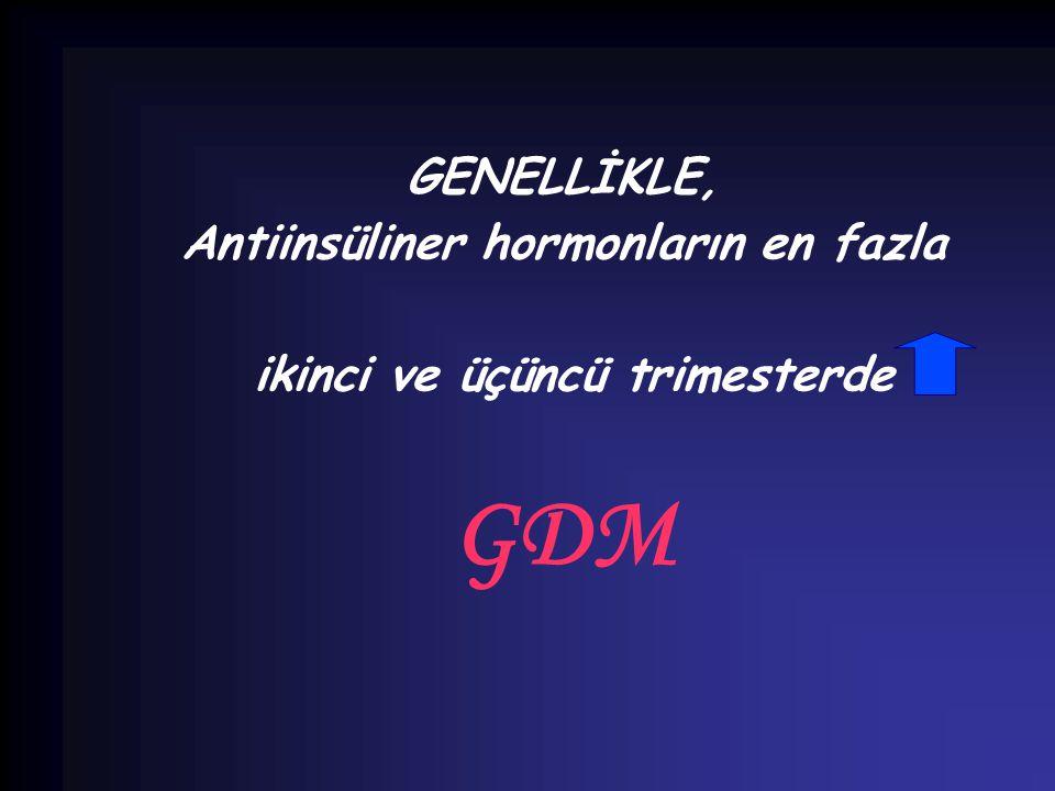 GENELLİKLE, Antiinsüliner hormonların en fazla ikinci ve üçüncü trimesterde GDM
