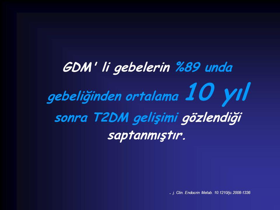 GDM' li gebelerin %89 unda gebeliğinden ortalama 10 yıl sonra T2DM gelişimi gözlendiği saptanmıştır.. j. Clin. Endocrin Metab. 10.1210/jc.2008-1336