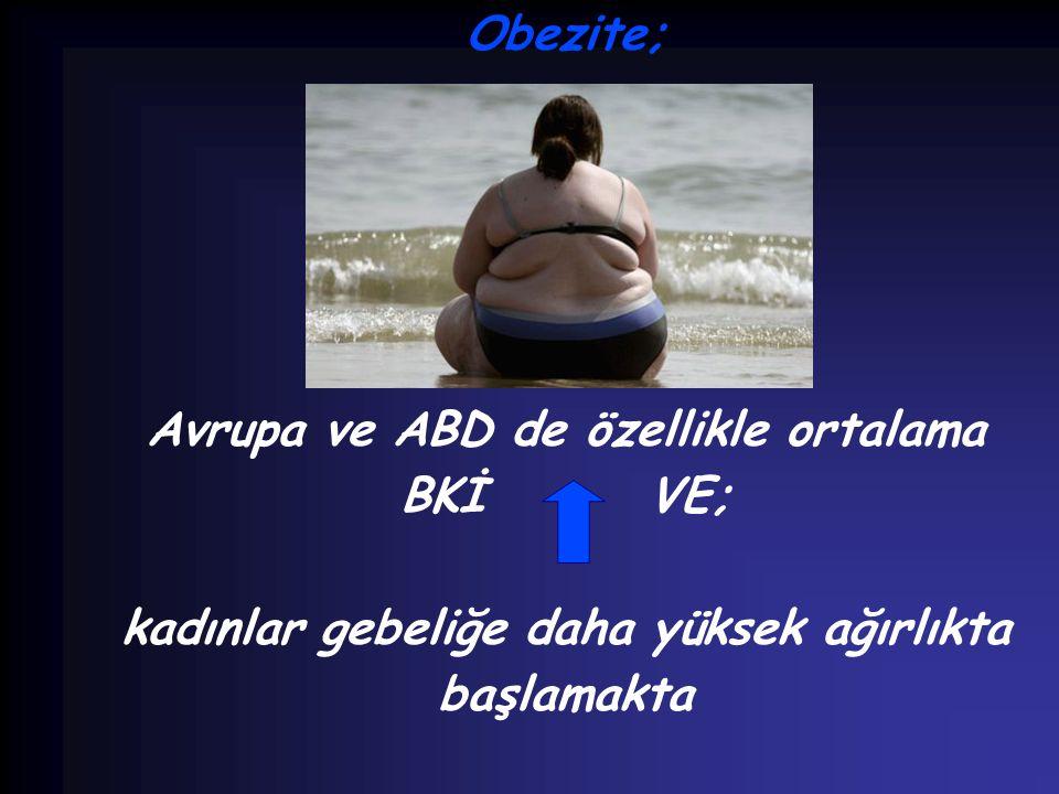 Obezite; Avrupa ve ABD de özellikle ortalama BKİ VE; kadınlar gebeliğe daha yüksek ağırlıkta başlamakta