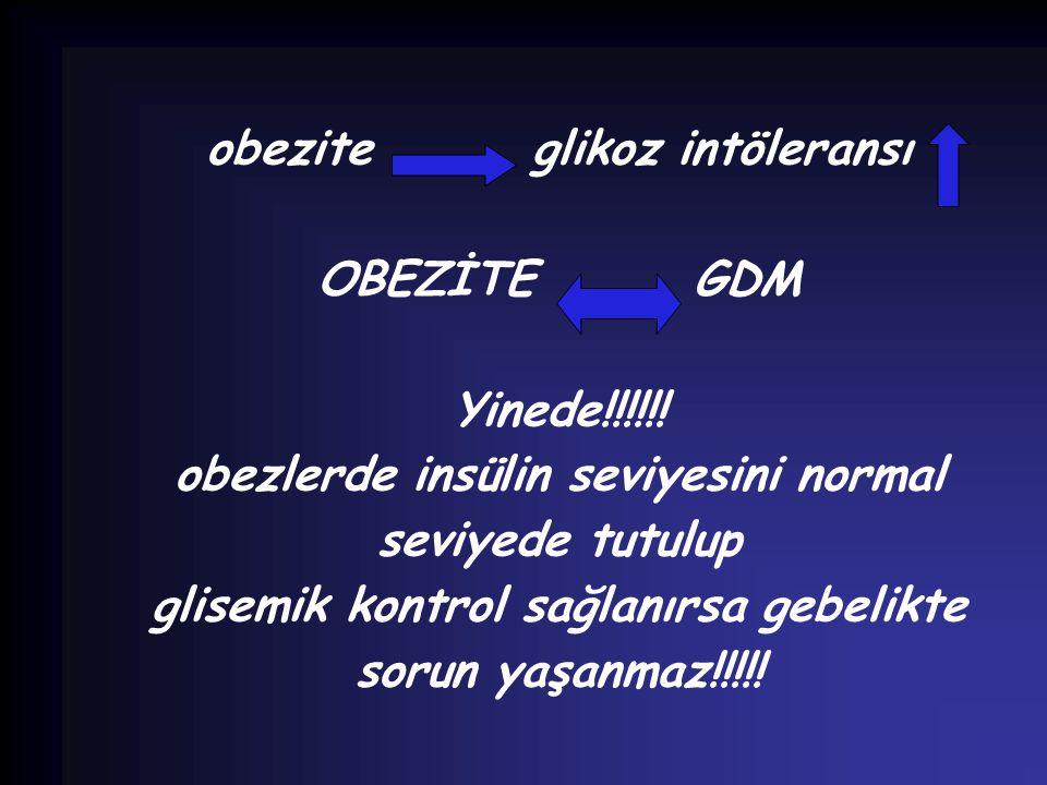 obezite glikoz intöleransı OBEZİTE GDM Yinede!!!!!! obezlerde insülin seviyesini normal seviyede tutulup glisemik kontrol sağlanırsa gebelikte sorun y
