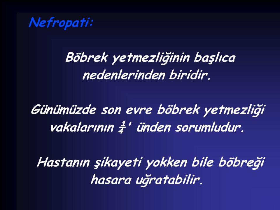 Nefropati: Böbrek yetmezliğinin başlıca nedenlerinden biridir. Günümüzde son evre böbrek yetmezliği vakalarının ¼' ünden sorumludur. Hastanın şikayeti