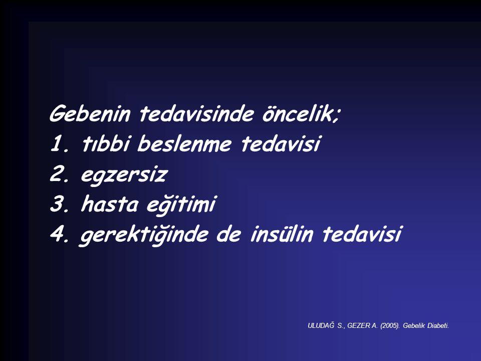 Gebenin tedavisinde öncelik; 1. tıbbi beslenme tedavisi 2. egzersiz 3. hasta eğitimi 4. gerektiğinde de insülin tedavisi ULUDAĞ S., GEZER A. (2005). G