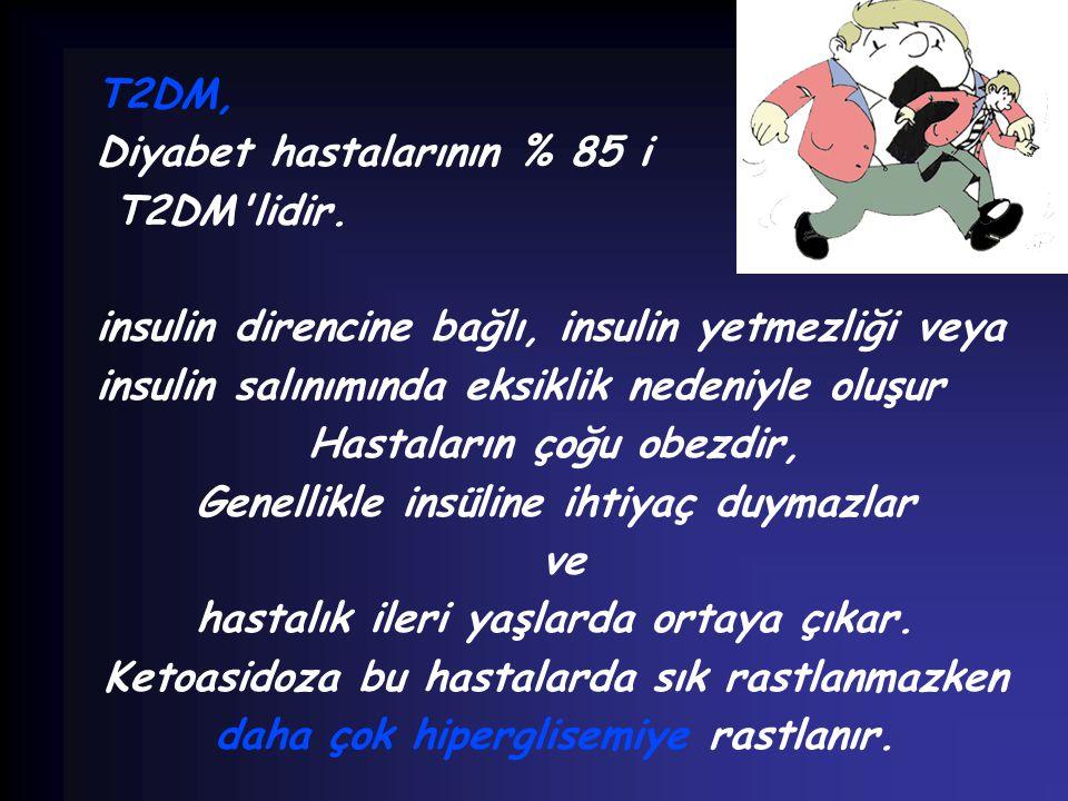 T2DM, Diyabet hastalarının % 85 i T2DM'lidir. insulin direncine bağlı, insulin yetmezliği veya insulin salınımında eksiklik nedeniyle oluşur Hastaları