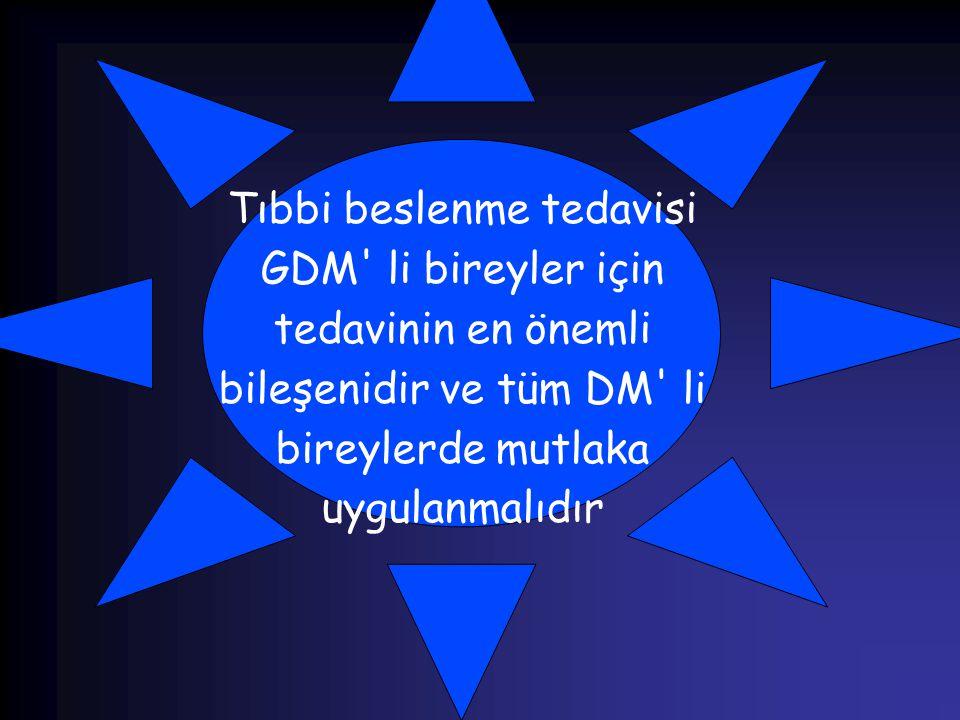 Tıbbi beslenme tedavisi GDM' li bireyler için tedavinin en önemli bileşenidir ve tüm DM' li bireylerde mutlaka uygulanmalıdır