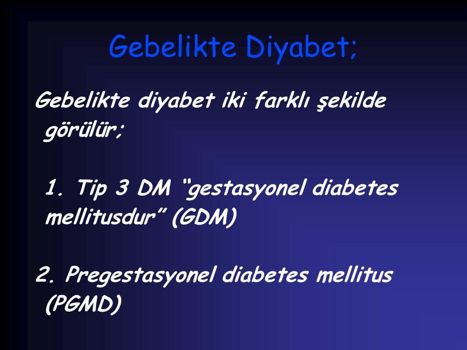 """Gebelikte Diyabet; Gebelikte diyabet iki farklı şekilde görülür; 1. Tip 3 DM """"gestasyonel diabetes mellitusdur"""" (GDM) 2. Pregestasyonel diabetes melli"""