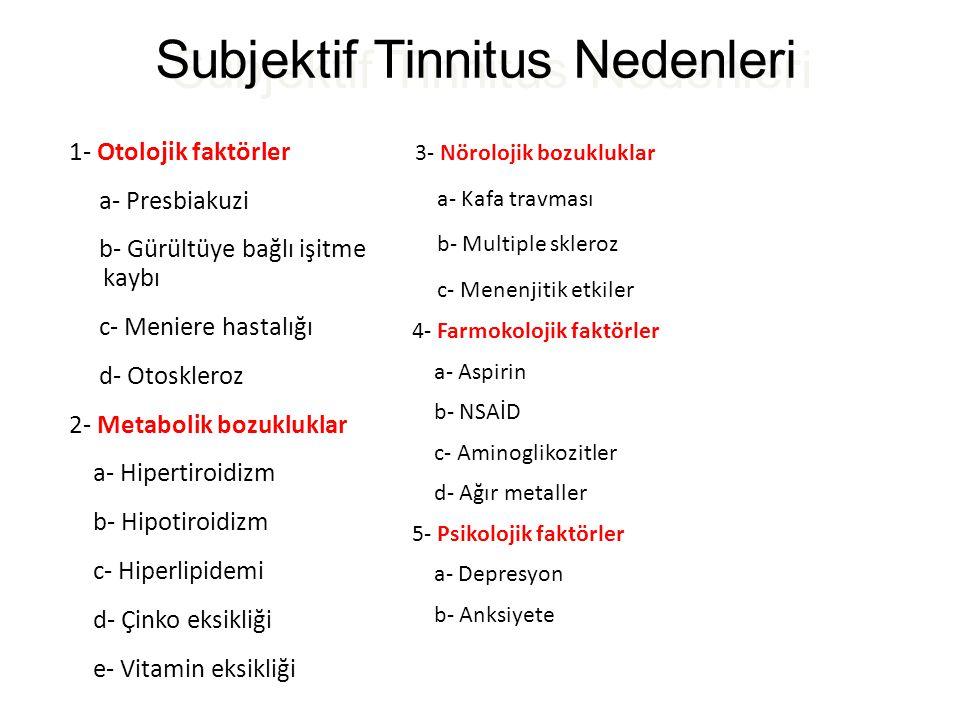 Subjektif Tinnitus Nedenleri 1- Otolojik faktörler a- Presbiakuzi b- Gürültüye bağlı işitme kaybı c- Meniere hastalığı d- Otoskleroz 2- Metabolik bozu