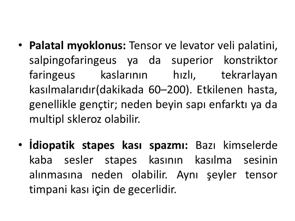 Palatal myoklonus: Tensor ve levator veli palatini, salpingofaringeus ya da superior konstriktor faringeus kaslarının hızlı, tekrarlayan kasılmalarıdı