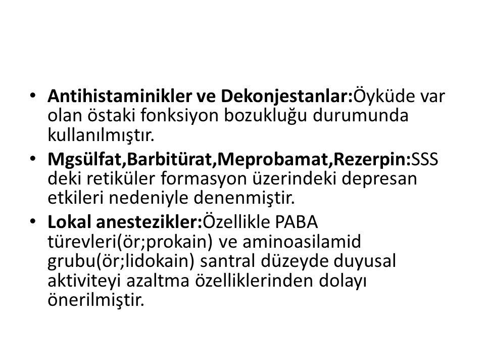 Antihistaminikler ve Dekonjestanlar:Öyküde var olan östaki fonksiyon bozukluğu durumunda kullanılmıştır. Mgsülfat,Barbitürat,Meprobamat,Rezerpin:SSS d