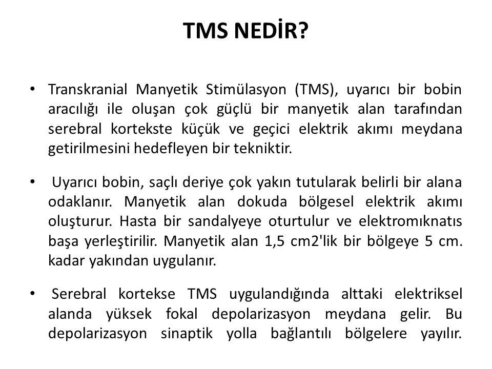 TMS NEDİR? Transkranial Manyetik Stimülasyon (TMS), uyarıcı bir bobin aracılığı ile oluşan çok güçlü bir manyetik alan tarafından serebral kortekste k