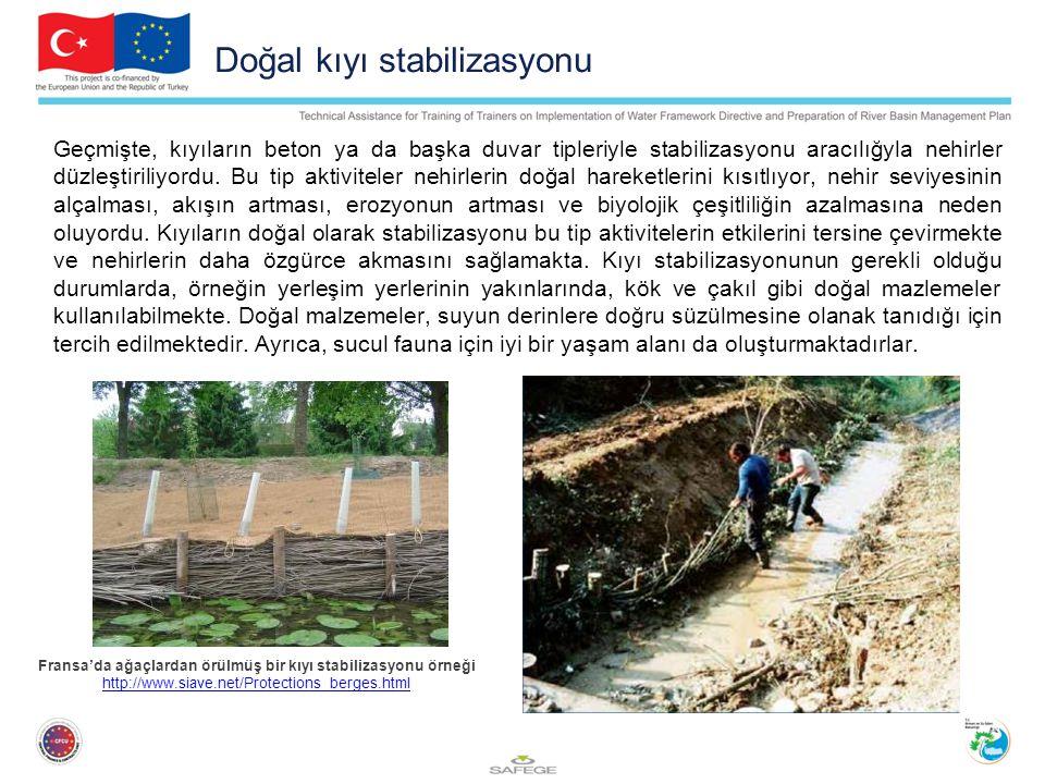 Doğal kıyı stabilizasyonu Geçmişte, kıyıların beton ya da başka duvar tipleriyle stabilizasyonu aracılığyla nehirler düzleştiriliyordu.