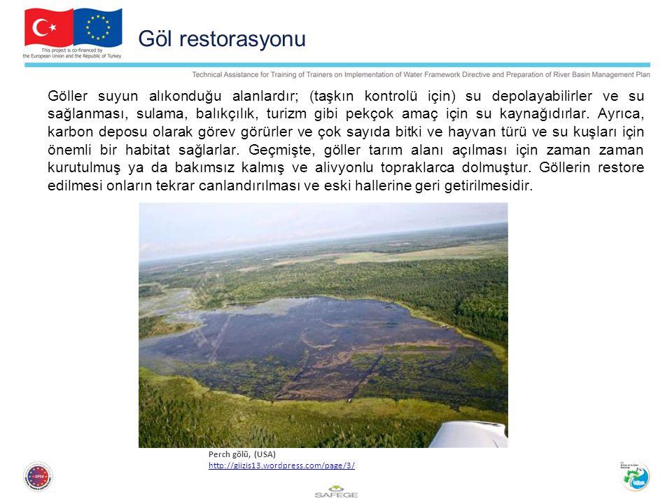 Göl restorasyonu Göller suyun alıkonduğu alanlardır; (taşkın kontrolü için) su depolayabilirler ve su sağlanması, sulama, balıkçılık, turizm gibi pekçok amaç için su kaynağıdırlar.