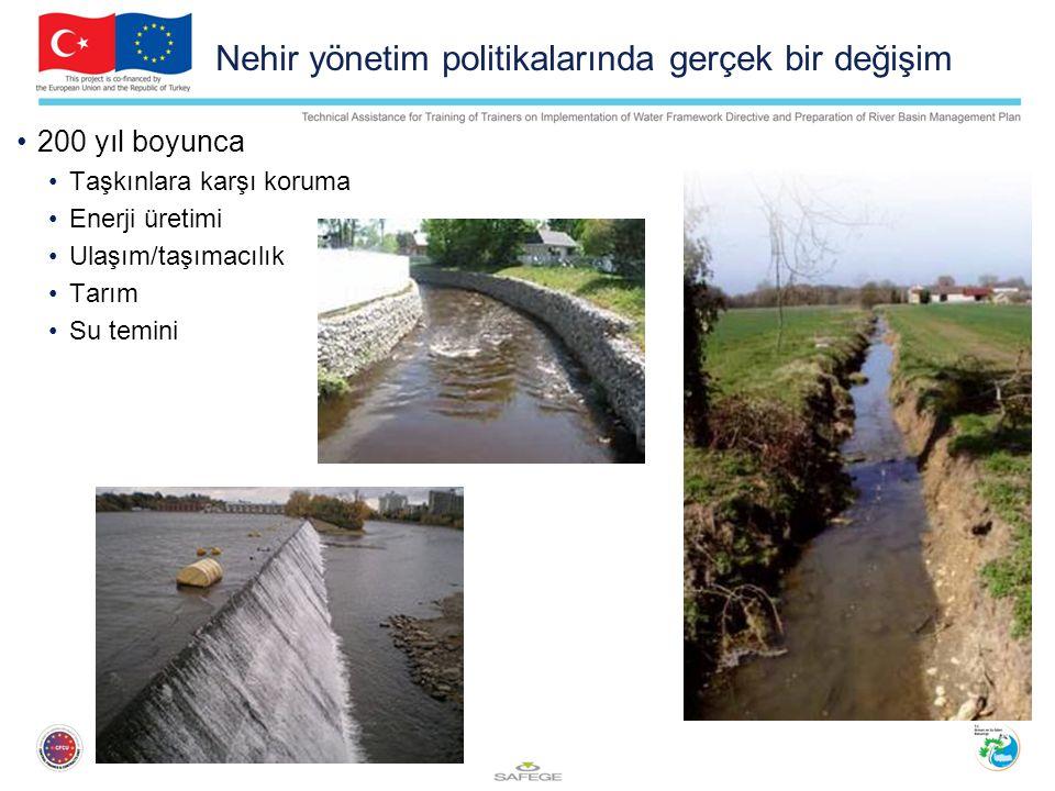 Nehir yönetim politikalarında gerçek bir değişim 200 yıl boyunca Taşkınlara karşı koruma Enerji üretimi Ulaşım/taşımacılık Tarım Su temini Rectification des cours d'eau Endiguement des rives Construction de seuils