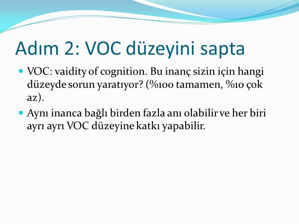 Adım 2: VOC düzeyini sapta VOC: vaidity of cognition. Bu inanç sizin için hangi düzeyde sorun yaratıyor? (%100 tamamen, %10 çok az). Aynı inanca bağlı