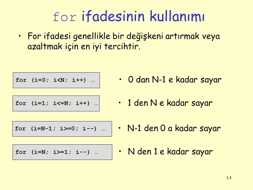 14 for ifadesinin kullanımı for (i=0; i<N; i++) … For ifadesi genellikle bir değişkeni artırmak veya azaltmak için en iyi tercihtir. 0 dan N-1 e kadar