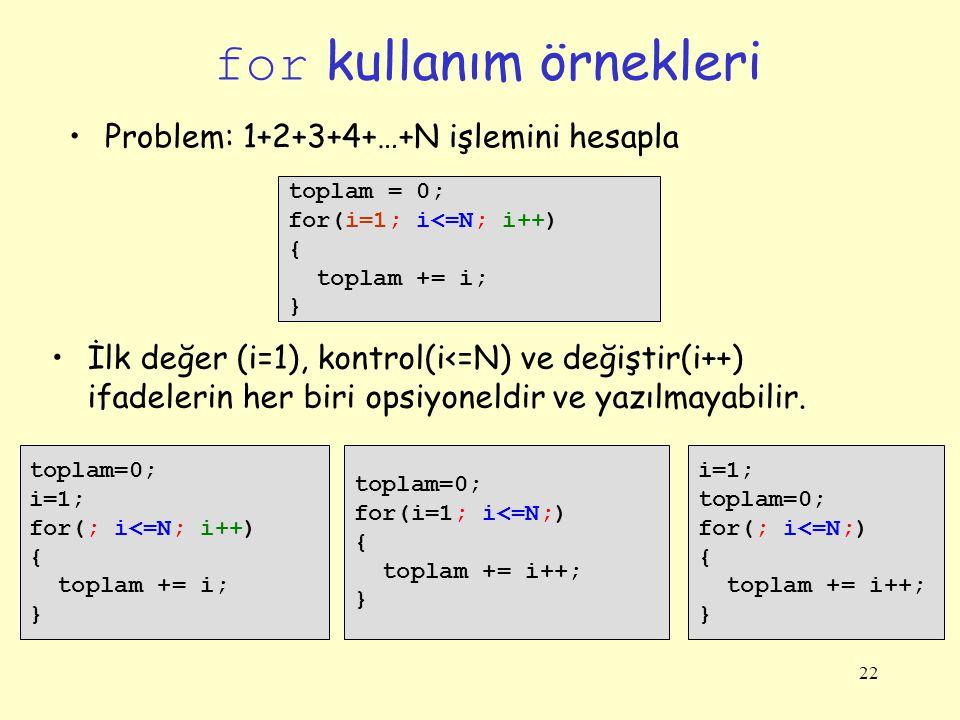 22 for kullanım örnekleri toplam = 0; for(i=1; i<=N; i++) { toplam += i; } Problem: 1+2+3+4+…+N işlemini hesapla toplam=0; i=1; for(; i<=N; i++) { top