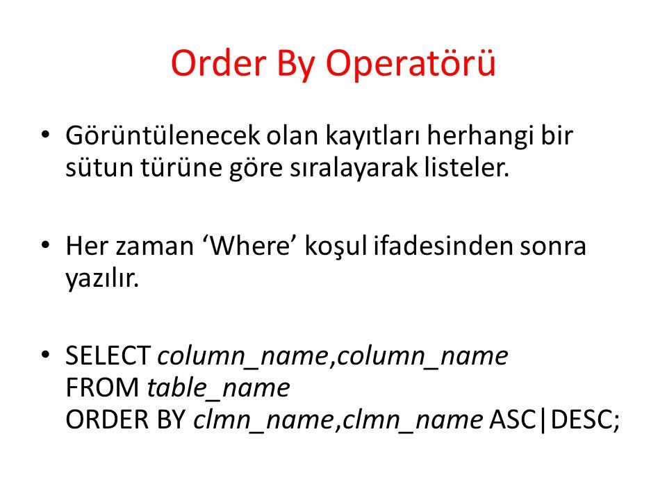 Order By Operatörü Görüntülenecek olan kayıtları herhangi bir sütun türüne göre sıralayarak listeler. Her zaman 'Where' koşul ifadesinden sonra yazılı