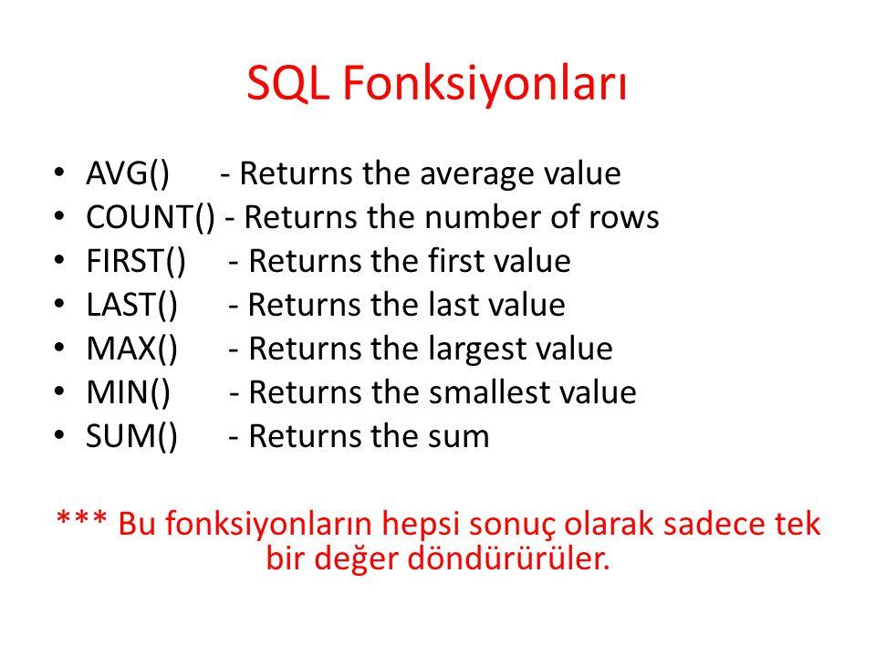 SQL Fonksiyonları AVG() - Returns the average value COUNT() - Returns the number of rows FIRST() - Returns the first value LAST() - Returns the last value MAX() - Returns the largest value MIN() - Returns the smallest value SUM() - Returns the sum *** Bu fonksiyonların hepsi sonuç olarak sadece tek bir değer döndürürüler.