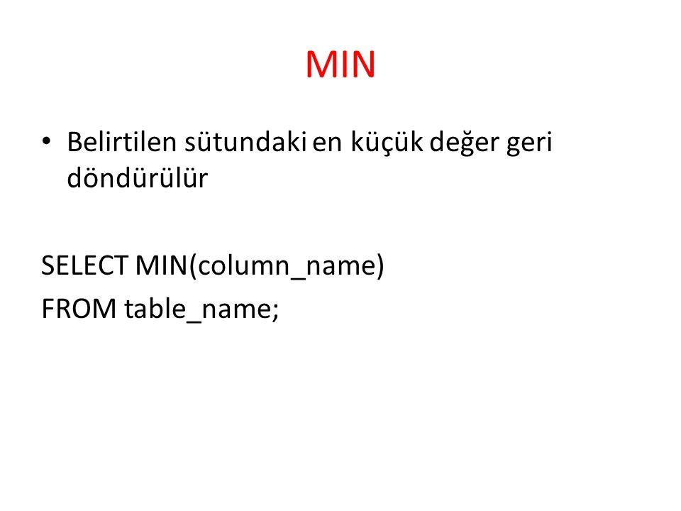 MIN Belirtilen sütundaki en küçük değer geri döndürülür SELECT MIN(column_name) FROM table_name;