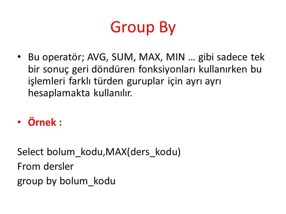 Group By Bu operatör; AVG, SUM, MAX, MIN … gibi sadece tek bir sonuç geri döndüren fonksiyonları kullanırken bu işlemleri farklı türden guruplar için ayrı ayrı hesaplamakta kullanılır.