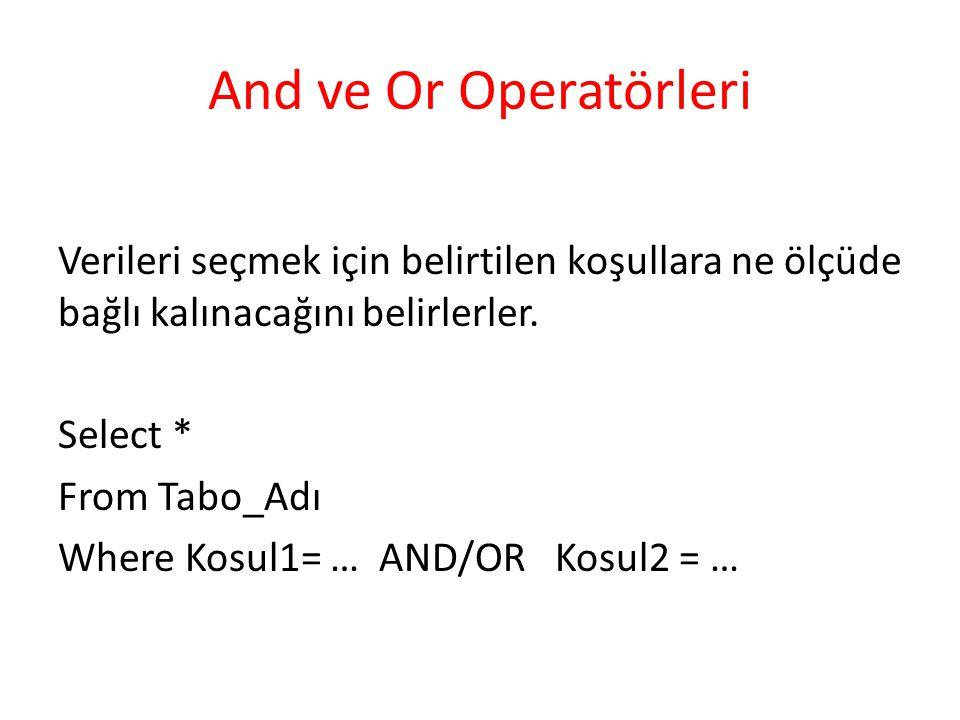 And ve Or Operatörleri Verileri seçmek için belirtilen koşullara ne ölçüde bağlı kalınacağını belirlerler. Select * From Tabo_Adı Where Kosul1= … AND/