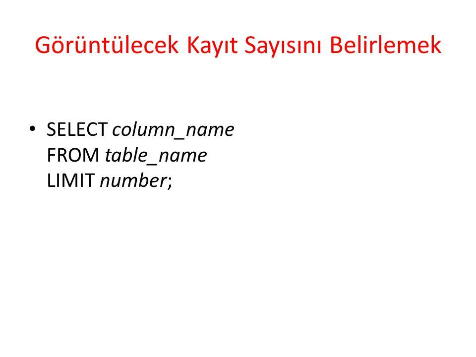 Görüntülecek Kayıt Sayısını Belirlemek SELECT column_name FROM table_name LIMIT number;
