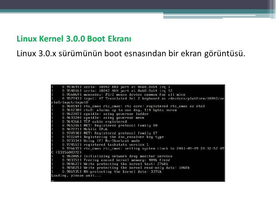 Linux Kernel 3.0.0 Boot Ekranı Linux 3.0.x sürümünün boot esnasından bir ekran görüntüsü.
