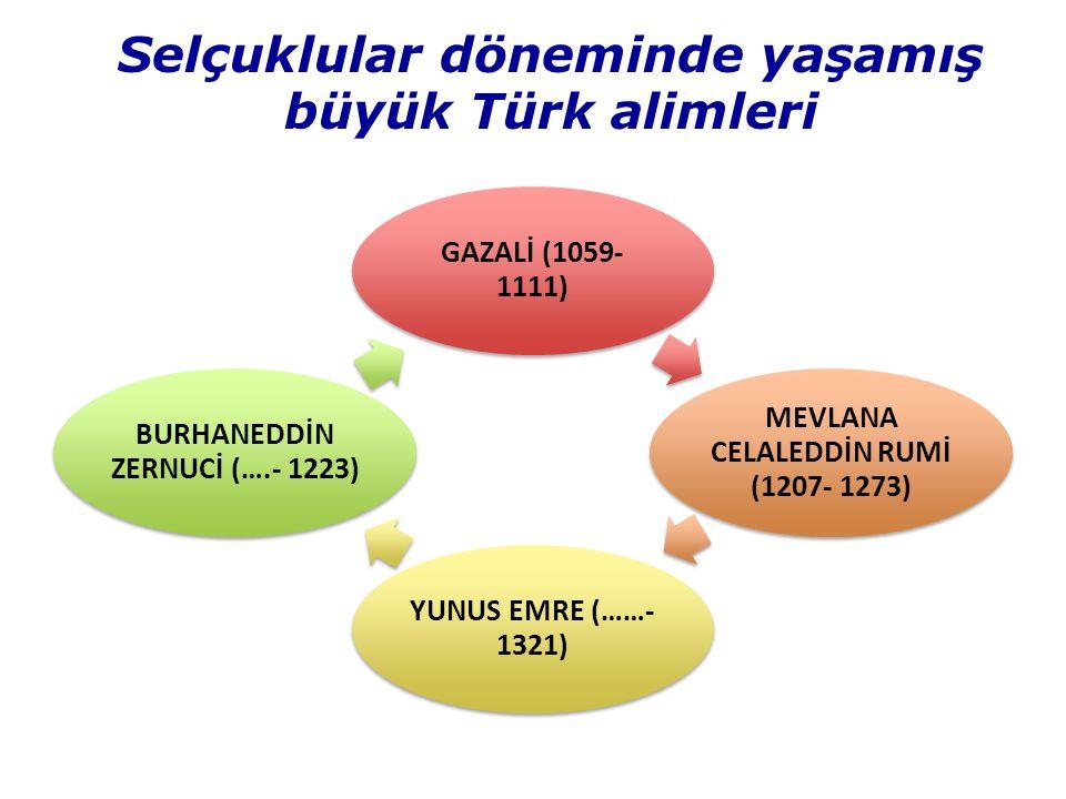 Selçuklular döneminde yaşamış büyük Türk alimleri GAZALİ (1059- 1111) MEVLANA CELALEDDİN RUMİ (1207- 1273) YUNUS EMRE (……- 1321) BURHANEDDİN ZERNUCİ (