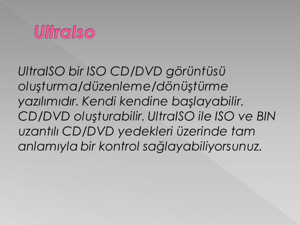 UltraISO bir ISO CD/DVD görüntüsü oluşturma/düzenleme/dönüştürme yazılımıdır.