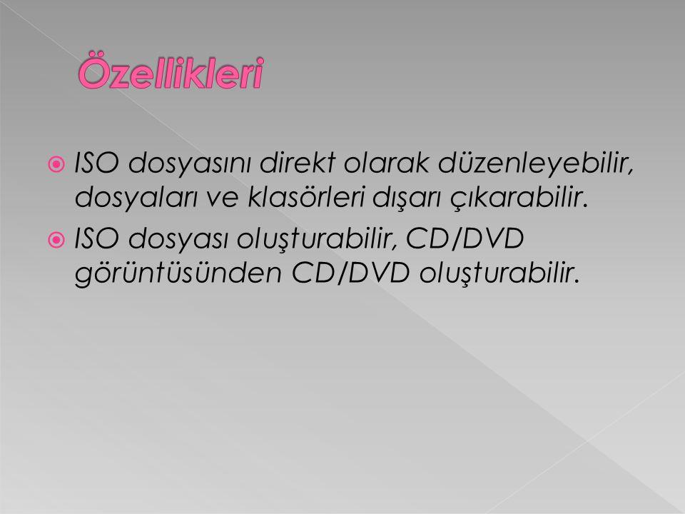  ISO dosyasını direkt olarak düzenleyebilir, dosyaları ve klasörleri dışarı çıkarabilir.