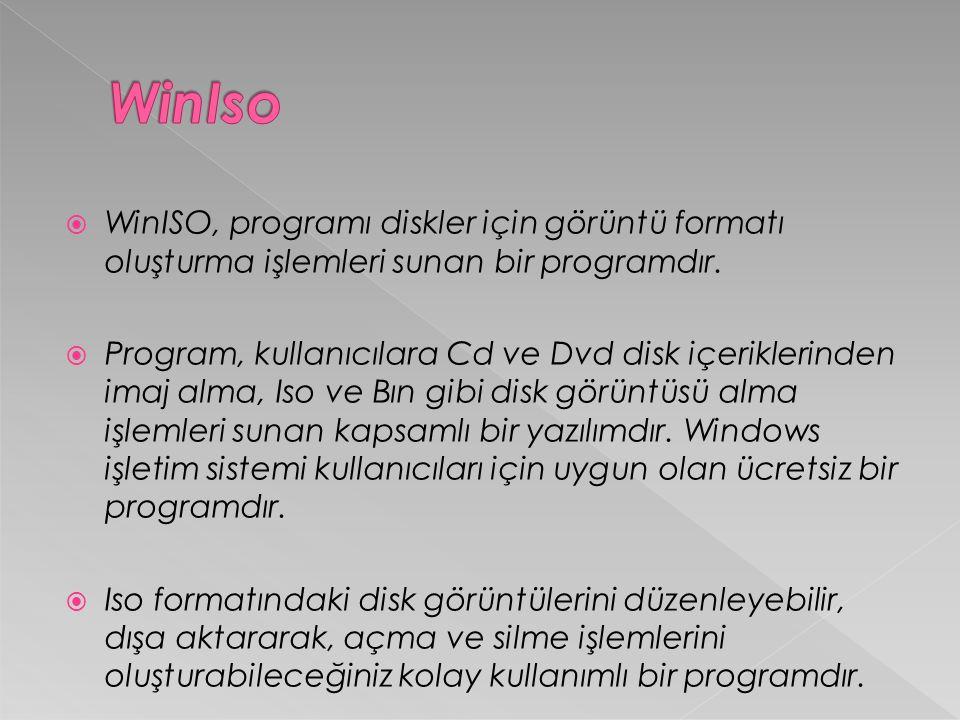  WinISO, programı diskler için görüntü formatı oluşturma işlemleri sunan bir programdır.