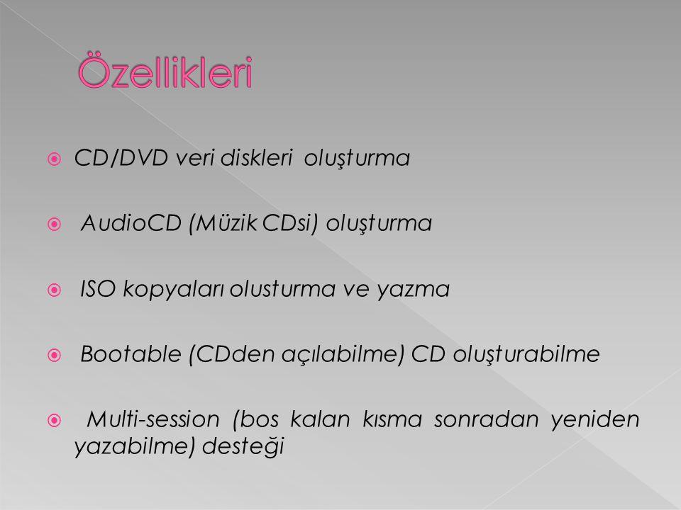  CD/DVD veri diskleri oluşturma  AudioCD (Müzik CDsi) oluşturma  ISO kopyaları olusturma ve yazma  Bootable (CDden açılabilme) CD oluşturabilme  Multi-session (bos kalan kısma sonradan yeniden yazabilme) desteği