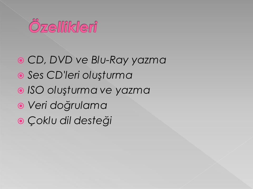  CD, DVD ve Blu-Ray yazma  Ses CD leri oluşturma  ISO oluşturma ve yazma  Veri doğrulama  Çoklu dil desteği