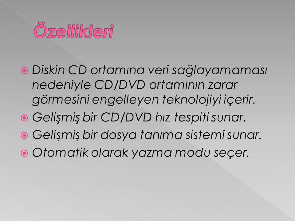  Diskin CD ortamına veri sağlayamaması nedeniyle CD/DVD ortamının zarar görmesini engelleyen teknolojiyi içerir.