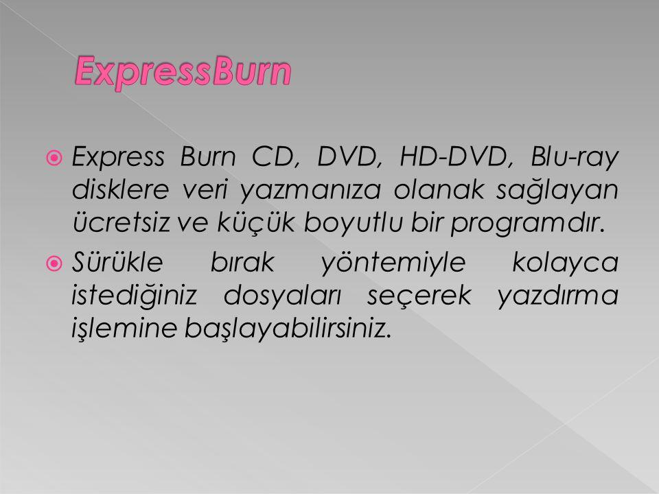  Express Burn CD, DVD, HD-DVD, Blu-ray disklere veri yazmanıza olanak sağlayan ücretsiz ve küçük boyutlu bir programdır.