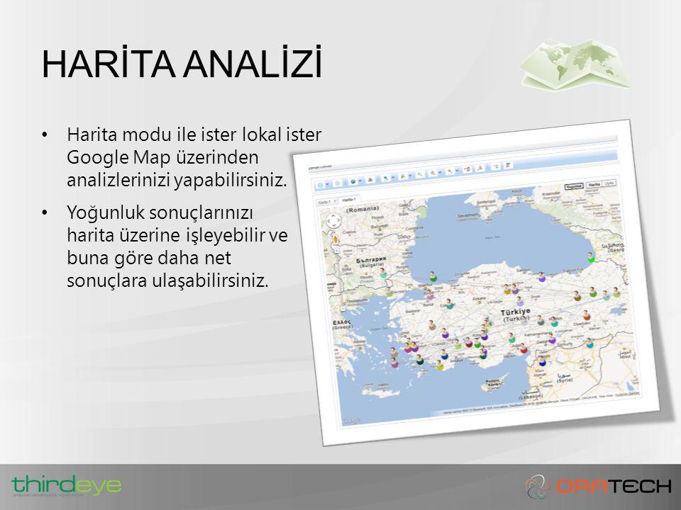 HARİTA ANALİZİ Harita modu ile ister lokal ister Google Map üzerinden analizlerinizi yapabilirsiniz.
