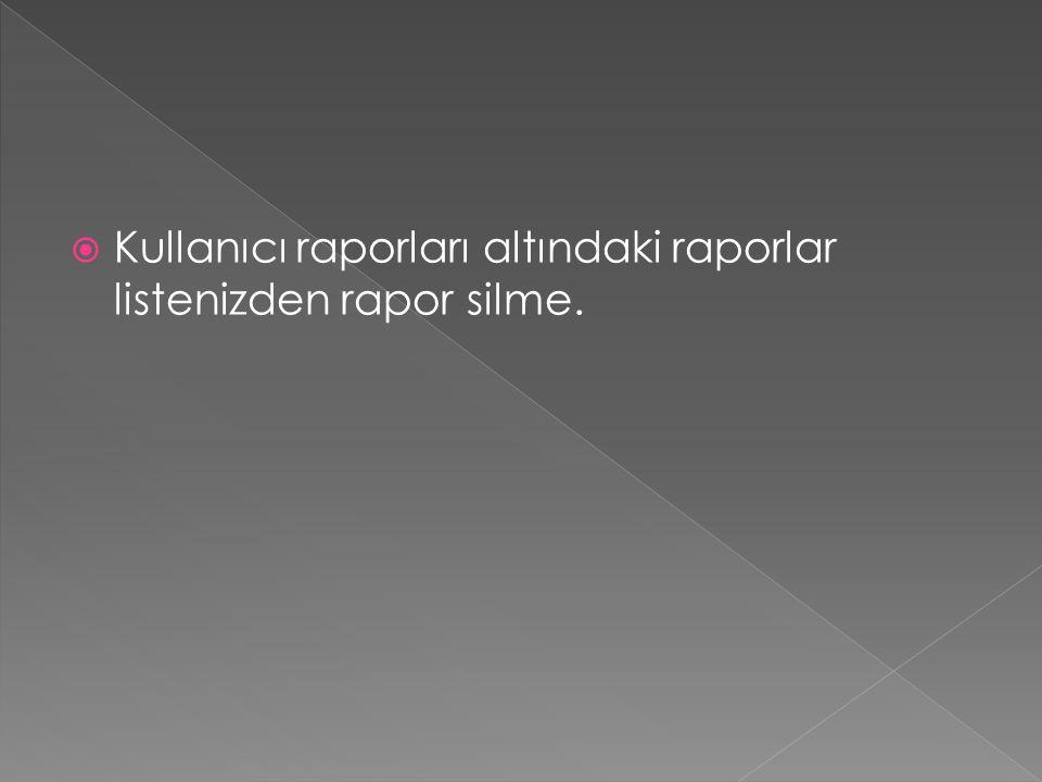  Kullanıcı raporları altındaki raporlar listenizden rapor silme.