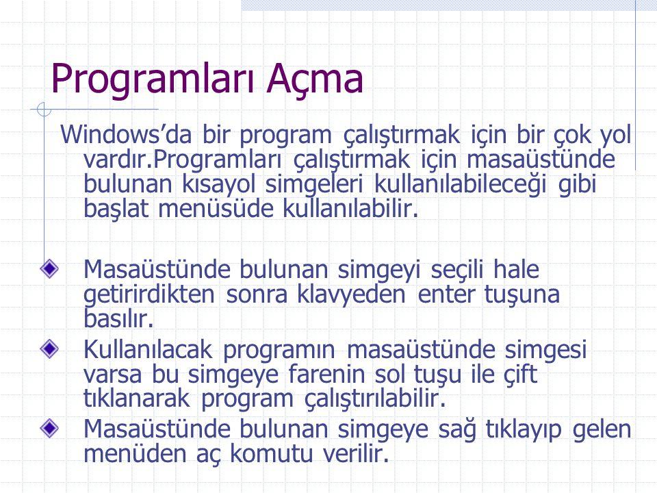 Programları Açma Windows'da bir program çalıştırmak için bir çok yol vardır.Programları çalıştırmak için masaüstünde bulunan kısayol simgeleri kullanı