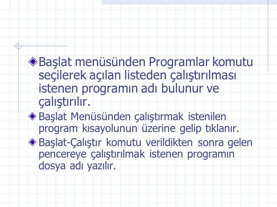 Başlat menüsünden Programlar komutu seçilerek açılan listeden çalıştırılması istenen programın adı bulunur ve çalıştırılır. Başlat Menüsünden çalıştır