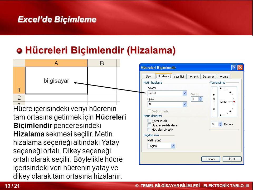 13 / 21 © TEMEL BİLGİSAYAR BİLİMLERİ – ELEKTRONİK TABLO- III Excel'de Biçimleme Hücreleri Biçimlendir (Hizalama) Hücreleri Biçimlendir (Hizalama) Hücr