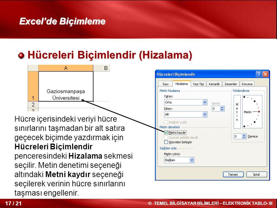 17 / 21 © TEMEL BİLGİSAYAR BİLİMLERİ – ELEKTRONİK TABLO- III Excel'de Biçimleme Hücreleri Biçimlendir (Hizalama) Hücreleri Biçimlendir (Hizalama) Hücr