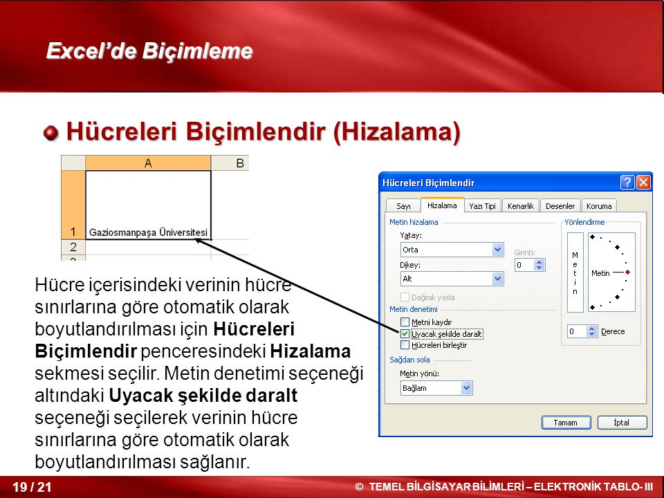 19 / 21 © TEMEL BİLGİSAYAR BİLİMLERİ – ELEKTRONİK TABLO- III Excel'de Biçimleme Hücreleri Biçimlendir (Hizalama) Hücreleri Biçimlendir (Hizalama) Hücr