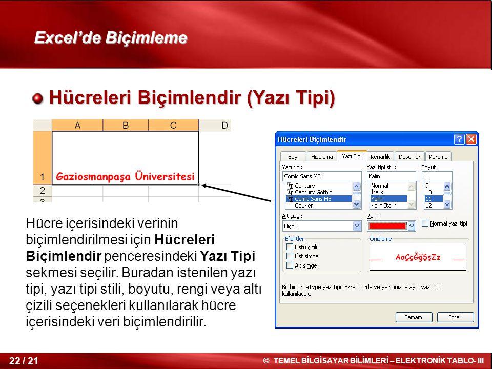 22 / 21 © TEMEL BİLGİSAYAR BİLİMLERİ – ELEKTRONİK TABLO- III Excel'de Biçimleme Hücreleri Biçimlendir (Yazı Tipi) Hücreleri Biçimlendir (Yazı Tipi) Hü
