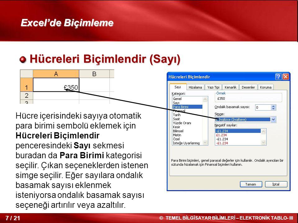 7 / 21 © TEMEL BİLGİSAYAR BİLİMLERİ – ELEKTRONİK TABLO- III Excel'de Biçimleme Hücreleri Biçimlendir (Sayı) Hücreleri Biçimlendir (Sayı) Hücre içerisi