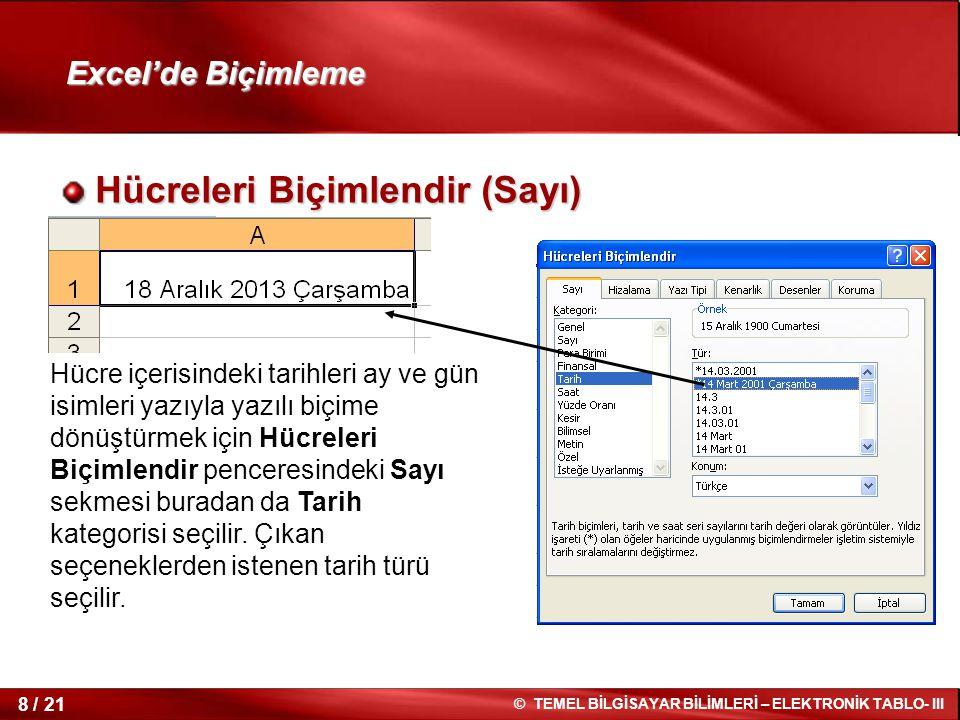 8 / 21 © TEMEL BİLGİSAYAR BİLİMLERİ – ELEKTRONİK TABLO- III Excel'de Biçimleme Hücreleri Biçimlendir (Sayı) Hücreleri Biçimlendir (Sayı) Hücre içerisi