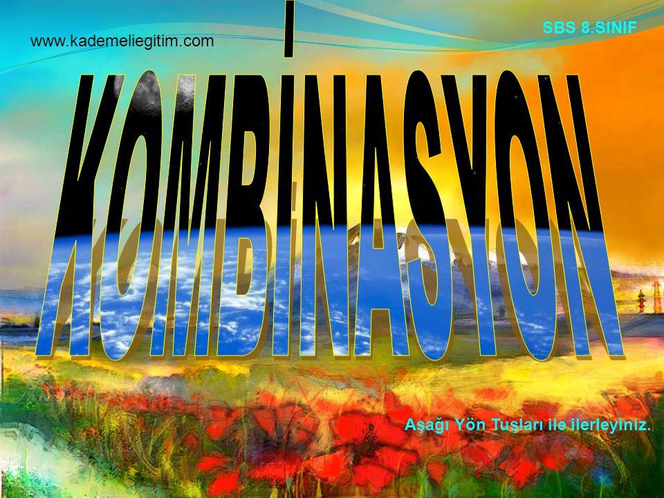 Aşağı Yön Tuşları ile ilerleyiniz. SBS 8.SINIF www.kademeliegitim.com