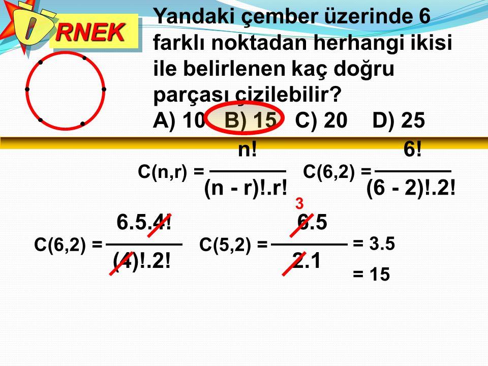 RNEKRNEK Yandaki çember üzerinde 6 farklı noktadan herhangi ikisi ile belirlenen kaç doğru parçası çizilebilir? A) 10 B) 15 C) 20 D) 25 C(n,r) = n! (n