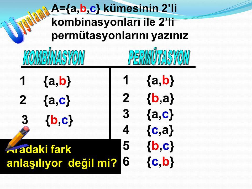 A={a,b,c} kümesinin 2'li kombinasyonları ile 2'li permütasyonlarını yazınız {a,b}1 {a,c}2 {b,c}{b,c}3 {a,b}1 {b,a}2 {a,c}3 {c,a}4 {b,c}{b,c}5 {c,b}{c,