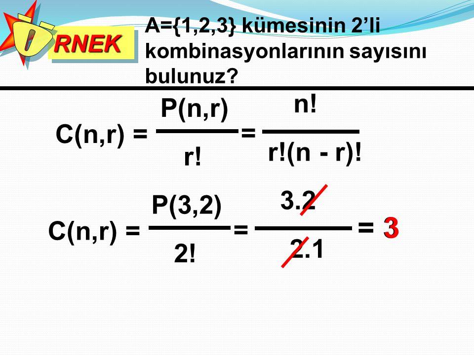 RNEKRNEK A={1,2,3} kümesinin 2'li kombinasyonlarının sayısını bulunuz? C(n,r) = P(n,r) r! = n! r!(n - r)! C(n,r) = P(3,2) 2! = 3.2 2.1 = 33