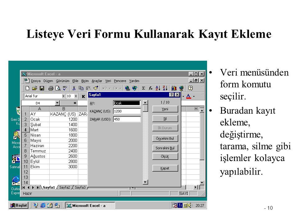 - 10 Listeye Veri Formu Kullanarak Kayıt Ekleme Veri menüsünden form komutu seçilir. Buradan kayıt ekleme, değiştirme, tarama, silme gibi işlemler kol